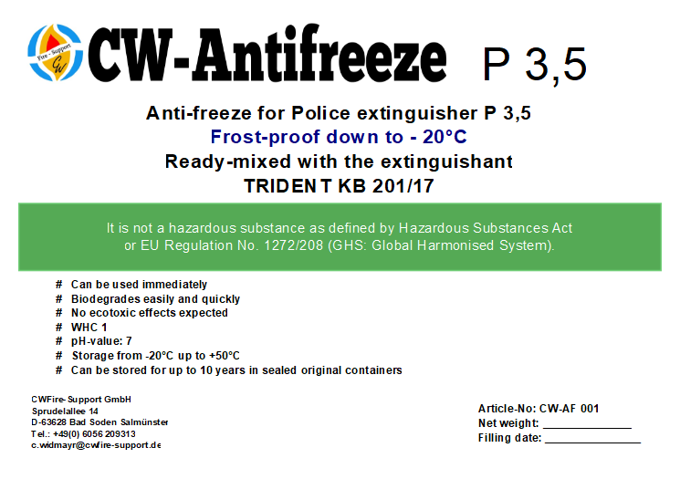 Anti-freeze for Police extinguisher P 3.5