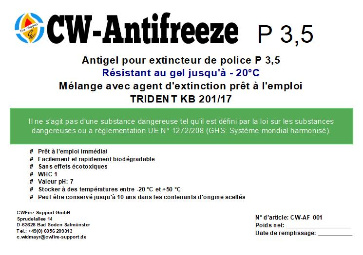 Antigel pour extincteur de police P 3,5
